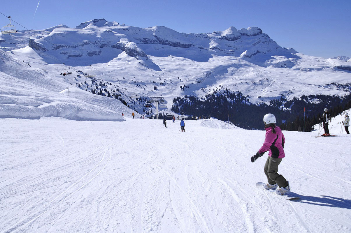 Flaine ski resort drive to Alps