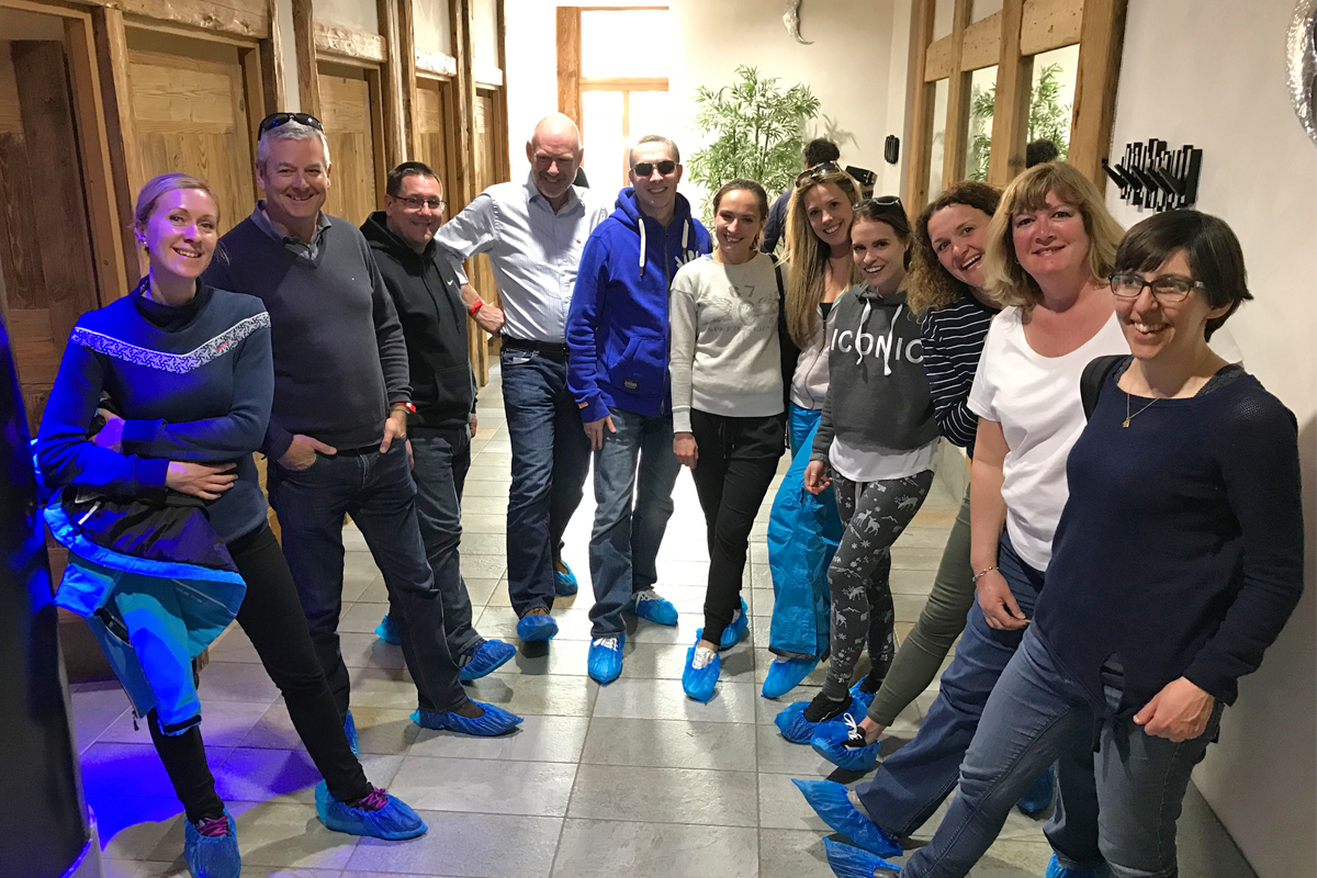 Team shot whilst checking out the spa at Kalinda with our matching blue shoe socks!